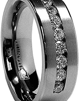 8 MM Men's Titanium Ring Wedding Band with 9 Large Channel Set .
