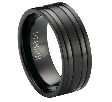 Black Titanium Ring :: Two Raised Polished Ban