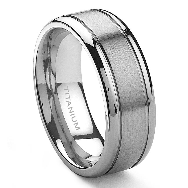 TENSUS Titanium 8mm Grooved Wedding Ri