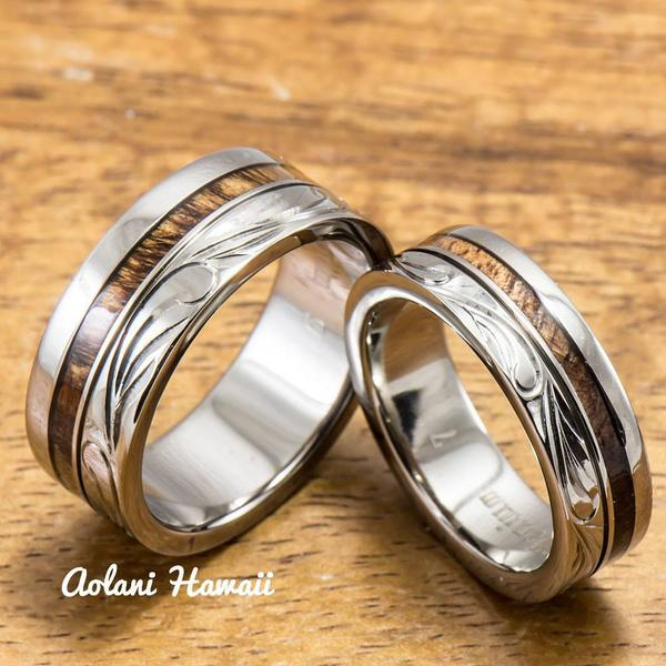 1) Titanium Wedding Ring Set with Hawaiian Koa Wood Inlay (6mm .