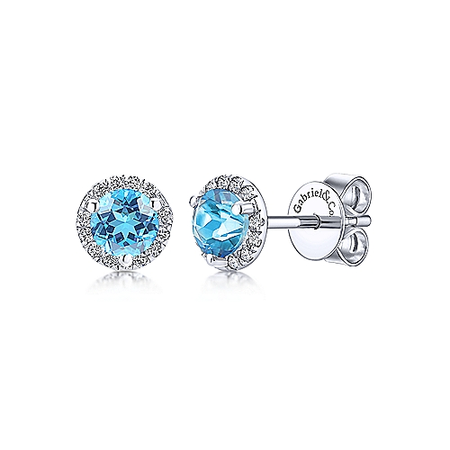 Gabriel & Co. Blue Topaz Earrings - Charisma Jewele