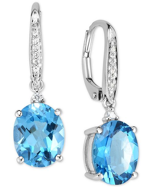 Macy's Blue Topaz (5-1/2 ct. t.w.) & Diamond Accent Drop Earrings .