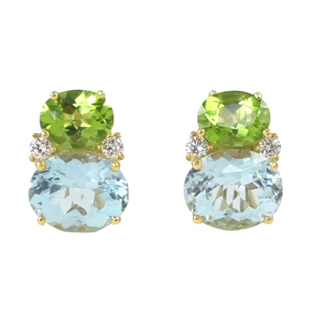 Frank Pollak and Sons - Peridot and Blue Topaz Twin Stone Earrin