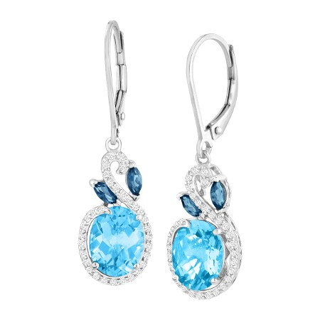 5 3/8 ct Natural London, Swiss Blue & White Topaz Drop Earrings in .