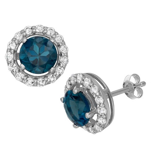 6mm Round-Cut London Blue Topaz Halo Earrings In Sterling Silver .