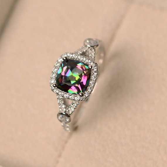Mystic topaz ring, rainbow topaz ring, engagement ring, wedding .