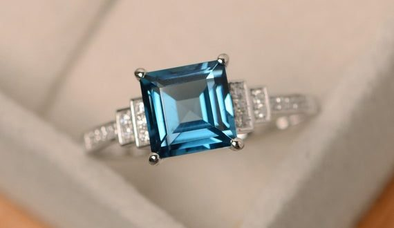 London blue topaz ring square cut ring sterling silver | Et