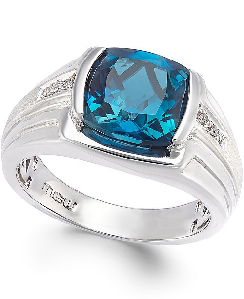 Macy's Men's Blue Topaz (5 ct. t.w.) and Diamond Accent Ring in .