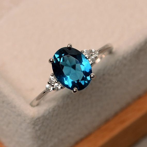 London blue topaz ring, oval blue gemstone ring, engagement ring .