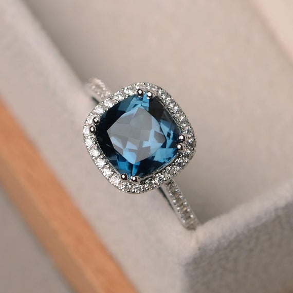 London blue topaz ring cushion cut engagement ring blue | Et