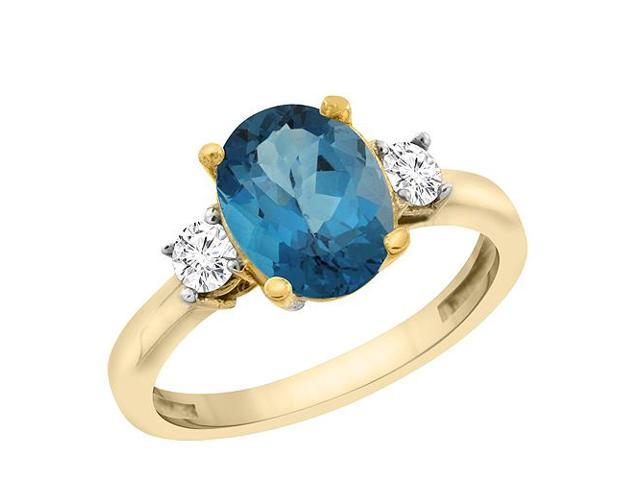 10K Yellow Gold Natural London Blue Topaz Ring Oval 10x8 mm .