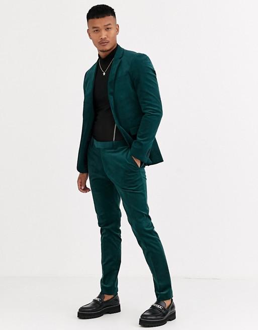 Topman skinny suit jacket in green cord | AS