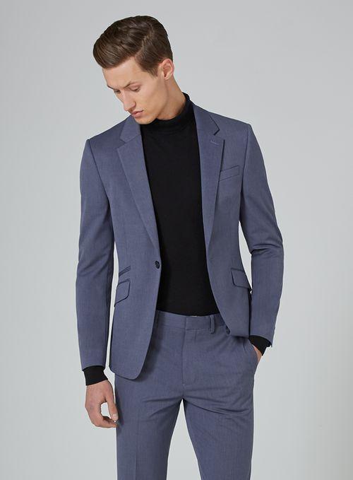Blue Marl Muscle Fit Suit - Shop All Suits - Suits - TOPMAN .