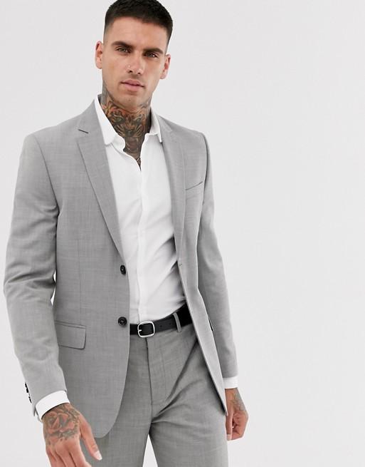 Topman slim suit jacket in grey | AS