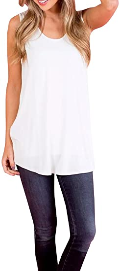 Womens Flowy Tank Tops Summer Swing Loose Fitting T Shirts .