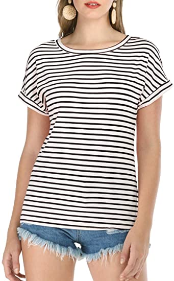 Haola Women's Striped Tops Summer Casual Round Neck Short Sleeve .