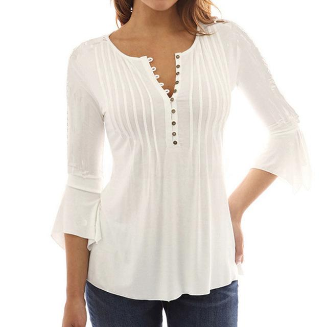 Elegant Womens Tops And Blouses Summer Ruffles Solid Casual 3/4 .