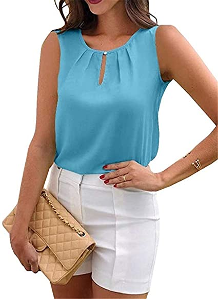 Pukemark Womens Tops Summer Casual Sleeveless O Neck Pleated Tank .