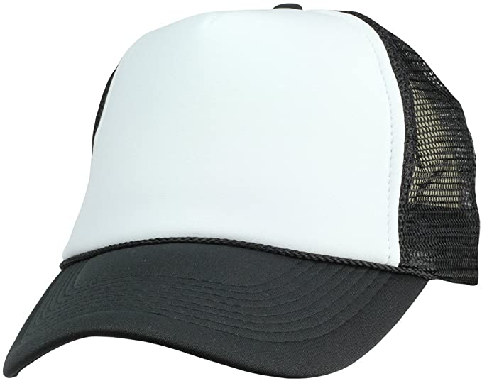 Two Tone Summer Mesh Cap in Black and White Trucker Hat at Amazon .