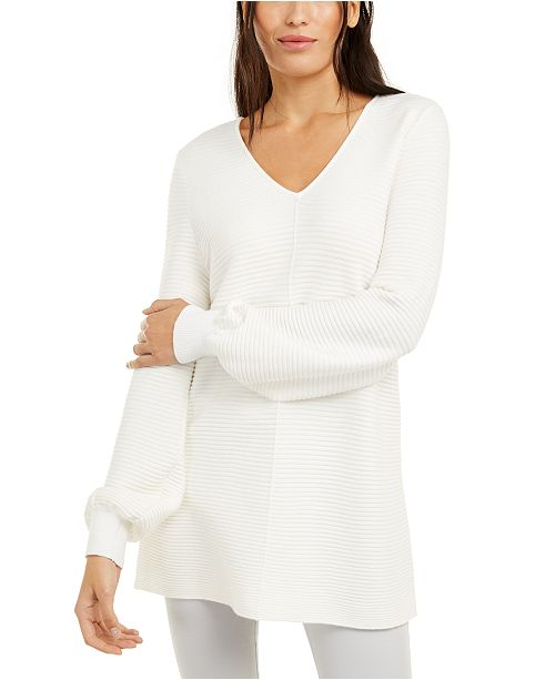 Alfani Petite Ribbed-Knit Tunic Sweater, Created for Macy's .