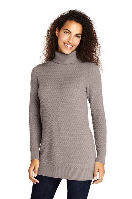 Women's Cotton Cable Turtleneck Tunic Sweater, Sweaters, Women's .