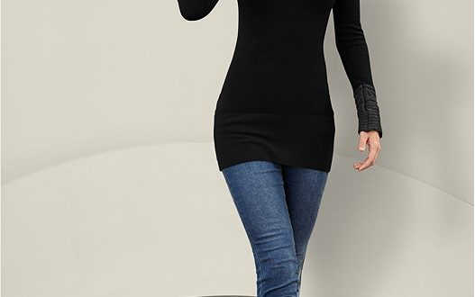 VENUS | Cable Detail Tunic Sweater in Bla