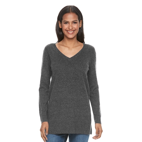 Women's Apt. 9® V-Neck Cashmere Tunic Sweat