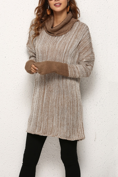 Winter's Trendy Long Sleeve Turtleneck Fashion Two-Tone Tunic .