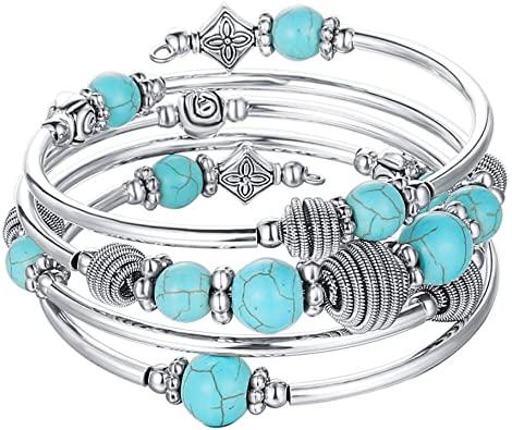 Amazon.com: Pearl&Club Beaded Chakra Bangle Turquoise Bracelet .
