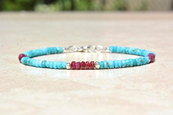 Sleeping Beauty Turquoise Bracelet Ruby Bracelet Birthstone | Et