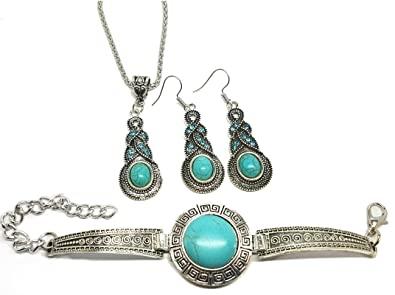 Vonchic Jewelry Set Vintage Look Necklace Bracelet Earrings Retro .