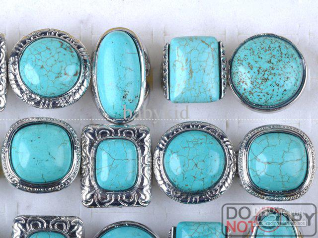 2020 Turquoise Jewellery Rings Silver Ring Jewelry Mixed Alloy .