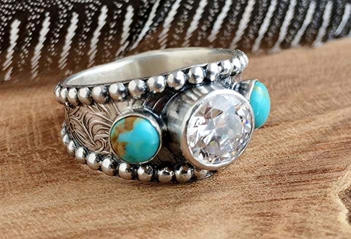 Amazon.com: Turquoise Wedding Ring for women, Sterling Silver .