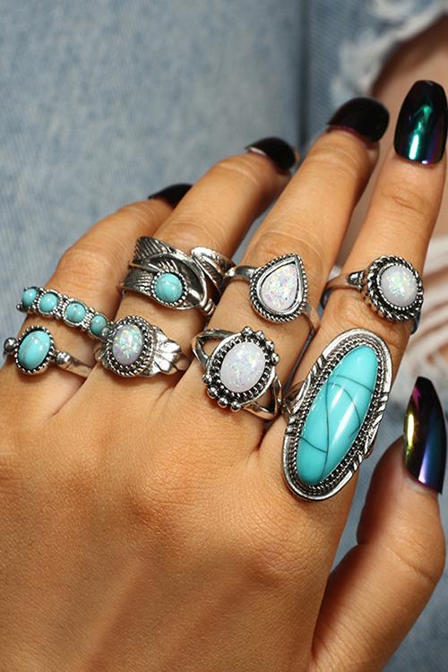 Vintage Turquoise Rings Set – Amilyonli