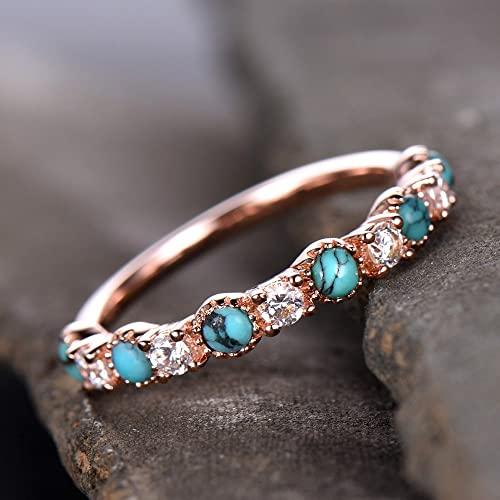 Amazon.com: Turquoise Ring,CZ Ring,Natural Turquoise Wedding Ring .