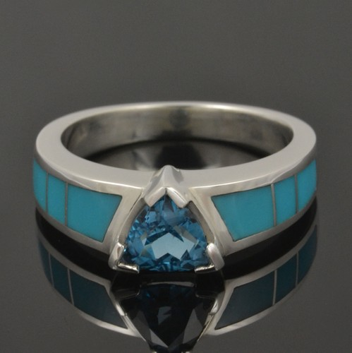 Topaz and Turquoise Engagement Ring in Sterling Silv