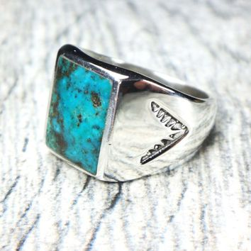 Vintage Turquoise Sterling Silver Ring Sterling Native American .
