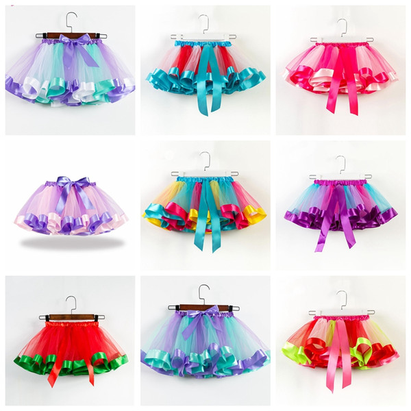2020 Baby Girls Tutus Rainbow Color Girl Tutu Skirts With Bow Kids .