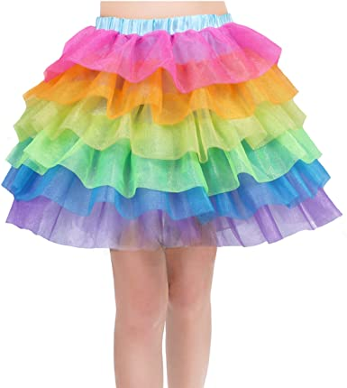Rainbow Tutu Skirt for Women Unicorn Skirts Colorful Tulle Tiered .