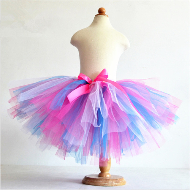 Hot Sale Summer Fluffy 3 Layer Girls Rainbow Tutu Skirts Baby Kids .