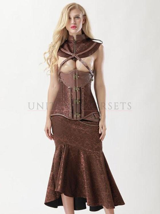 Women's Vintage Brown Steel Boned Faux Leather Jacquard Underbust .
