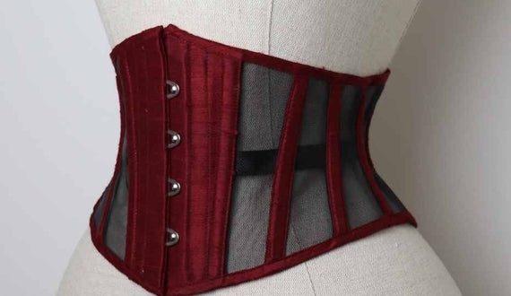 BESPOKE underbust corset / silk and sheer mesh steelboned | Et