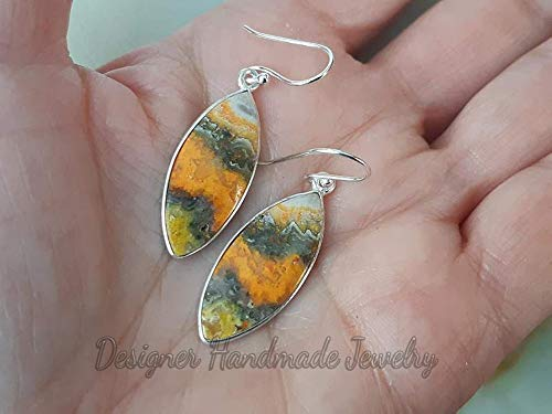 Amazon.com: Bumble Bee Jasper Earrings, Marquise Gemstone, 925 .