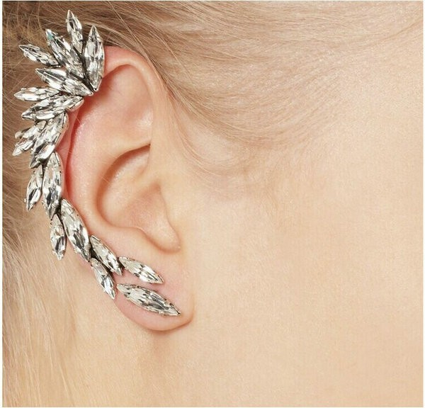 Wholesale Cool Clear Rhinestone Unique Statement Ear Wrap Earrings .