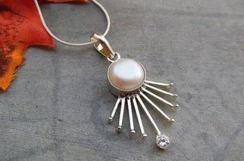 Buy Unique handmade jewelry, Freshwater pearl silver pendant .