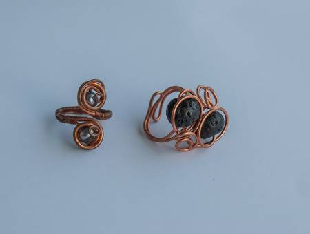 Unique Handmade Jewelry Made Of Copper Wire And Colourful Stones .