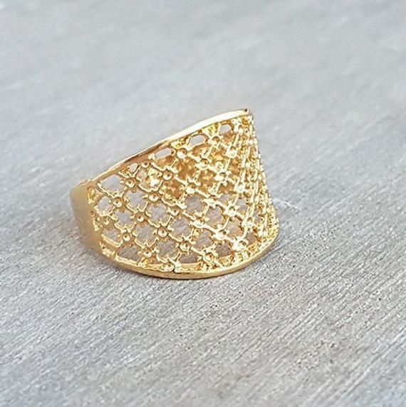 Dainty Design Ring, Unique Rings, Fine Gold Ring, Lace Ring .