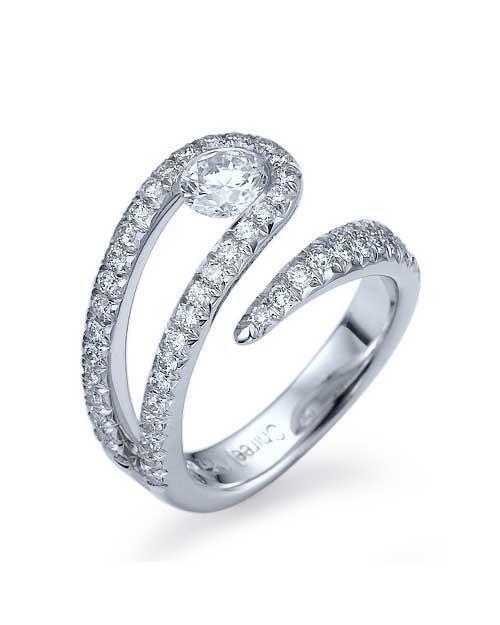 0.5ct Platinum Unique Twisted Semi-Bezel Set Engagement Ring .