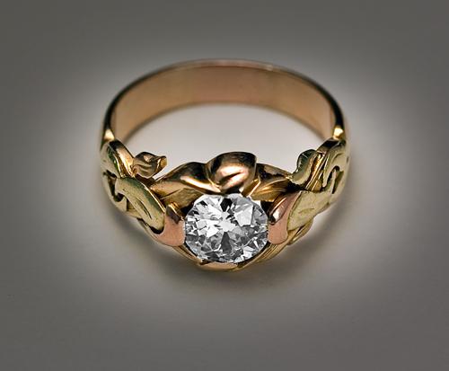 ART NOUVEAU Antique Diamond Men's Ring   UNIQUE Diamond & Three .