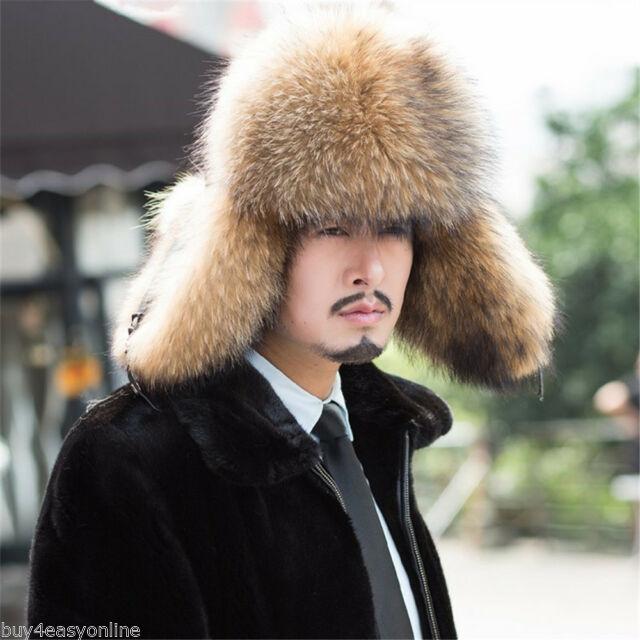 BRAND Russian Raccoon Full Fur Shapka Ushanka Hat Siberian Type .